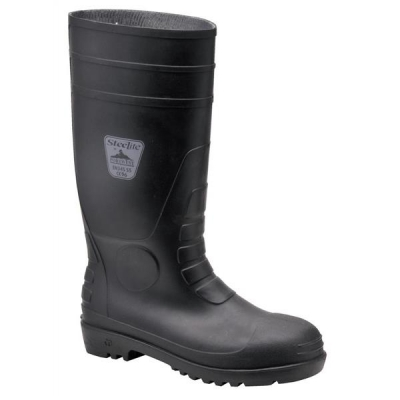 Portwest Safety Wellington Boots Steel Toecap Slip-resistant Nylon Lining Size 10 Black Ref FW95SIZE10