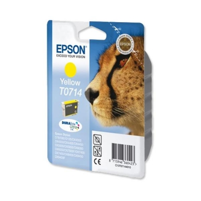 Epson T0714 Inkjet Cartridge DURABrite Cheetah Page Life 370-500pp Yellow Ref C13T07144011