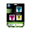 Hewlett Packard [HP] No. 363 Inkjet Cartridges Page Life 400pp 3 Colours Ref CB333EE [Pack 3]