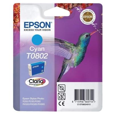 Epson T0802 Inkjet Cartridge Claria Hummingbird Page Life 890-935pp Cyan Ref C13T08024010