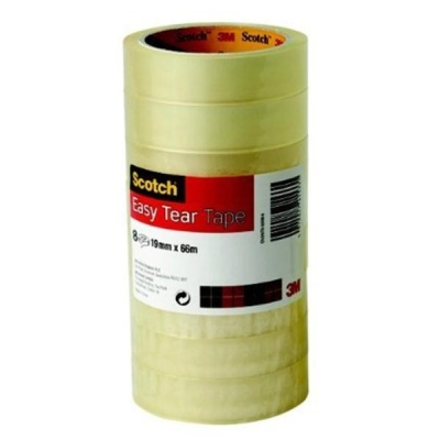Scotch Easy Tear Transparent Tape 19mmx66m Ref ETET1966T8 [Pack 8]