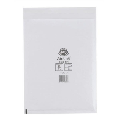 Jiffy Airkraft Postal Bags Bubble-lined Peel and Seal No.3 White 220x320mm Ref JL-3 [Pack 50]