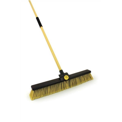Broom Bulldozer Dual Purpose Soft/Stiff PVC Yard Broom & Metal Handle 24inch
