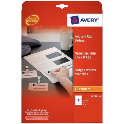 Avery Fold & Clip Name Badges 3 per Sheet 60x90mm White Ref L4789-10 [30 Badges]