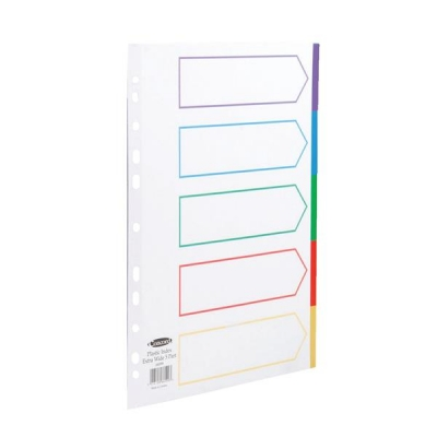 Concord Subject Dividers Polypropylene Multicolour Tabbed 5-Part Extra Wide A4 White Ref 66099
