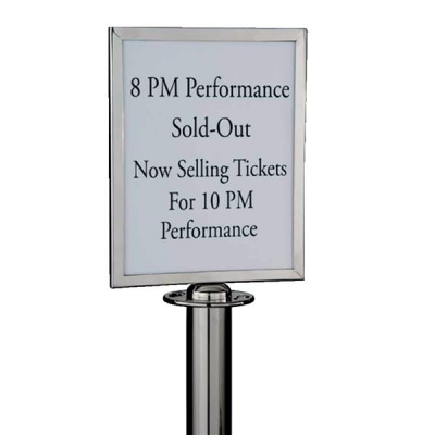 Sign Holder Polished Stainless Steel for Classic Rope Stand A4 W310xH220xD20