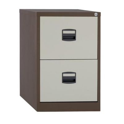 Trexus Filing Cabinet Steel Lockable 2 Drawer W470xD622xH711mm Coffee/Cream