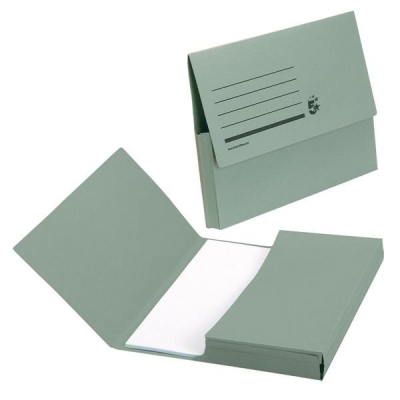 5 Star Document Wallet Half Flap 285gsm Capacity 32mm Foolscap Green [Pack 50]