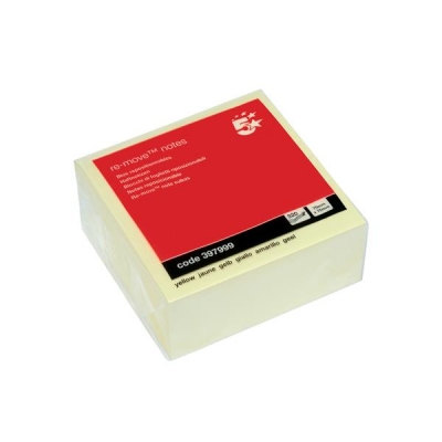 5 Star Re-Move Notes Cube Pad of 400 Sheets 76x76mm Yellow