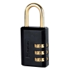 Securikey Combination Padlock 3 Digit Selectable 30mm Black Brass Shackle Ref 647D