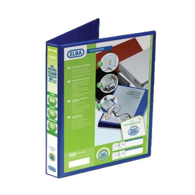 Elba Panorama Presentation Ring Binder PVC 2 D-Ring 25mm Capacity A4 Blue Ref 400008412 [Pack 6]