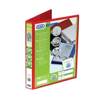 Elba Panorama Presentation Ring Binder PVC 2 D-Ring 25mm Capacity A4 Red Ref 400008676 [Pack 6]