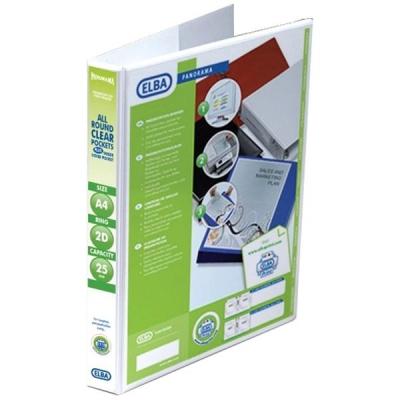 Elba Panorama Presentation Ring Binder PVC 2 D-Ring 25mm Capacity A4 White Ref 400008413 [Pack 6]