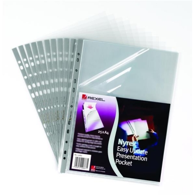 Rexel Nyrex Presentation Pocket Easy-update Top and Side-opening A4 Clear Ref 13682 [Pack 25]