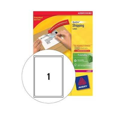 Avery Addressing Labels Laser Jam-free 1 per Sheet 199.6x289.1mm White Ref L7167-40 [40 Labels]