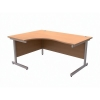 Trexus Contract Radial Desk Left Hand Silver Legs W1600xD1200xH725mm Beech
