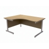 Trexus Contract Radial Desk Left Hand Silver Legs W1600xD1200xH725mm Oak