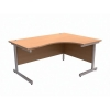 Trexus Contract Radial Desk Right Hand Silver Legs W1600xD1200xH725mm Beech
