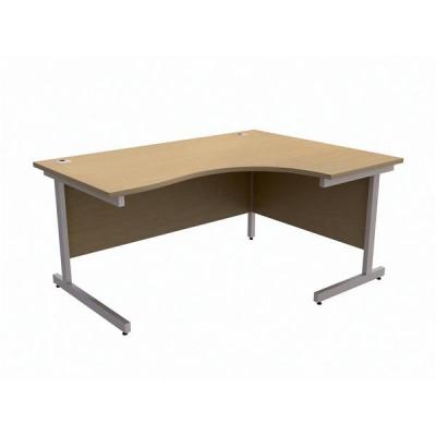 Trexus Contract Radial Desk Right Hand Silver Legs W1600xD1200xH725mm Oak