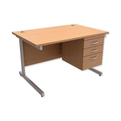 Trexus Contract Desk Rectangular with 3-Drawer Pedestal Silver Legs W1200xD800xH725mm Beech