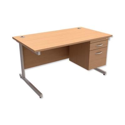 Trexus Contract Desk Rectangular with 2-Drawer Filer Pedestal Silver Legs W1400xD800xH725mm Beech