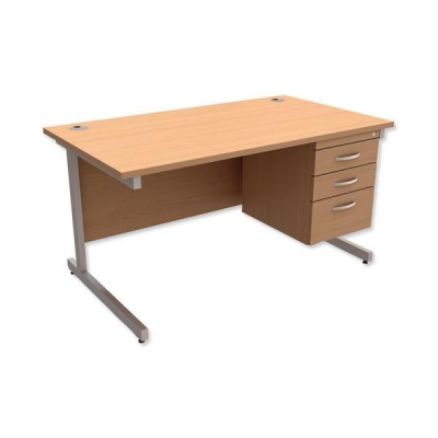 Trexus Contract Desk Rectangular with 3-Drawer Pedestal Silver Legs W1400xD800xH725mm Beech