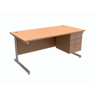 Trexus Contract Desk Rectangular with 3-Drawer Pedestal Silver Legs W1600xD800xH725mm Beech