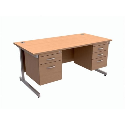 Trexus Contract Desk Rectangular with Double Pedestal Silver Legs W1600xD800xH725mm Beech