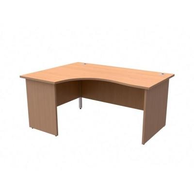 Trexus Classic Radial Desk Panelled Left Hand W1600xD1200xH725mm Beech