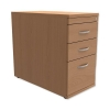 Trexus Mobile Filing Pedestal Desk-High 3-Drawer W400xD800xH725mm Beech
