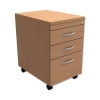 Trexus Mobile Filing Pedestal Tall Under-desk 3-Drawer W400xD600xH674mm Beech