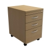 Trexus Mobile Filing Pedestal Tall Under-desk 3-Drawer W400xD600xH674mm Oak