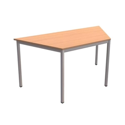 Trexus Trapezoidal Table with Silver Legs 18mm Top W1500xD650xH725mm Beech