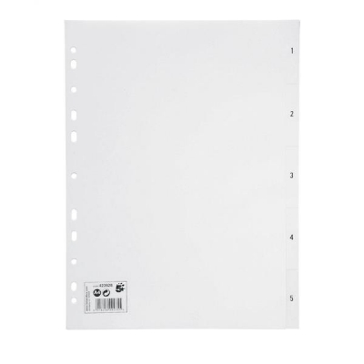 5 Star Index Multipunched 130 micron Polypropylene 1-5 A4 White