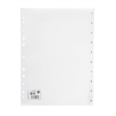 5 Star Index Multipunched 130 micron Polypropylene 1-10 A4 White