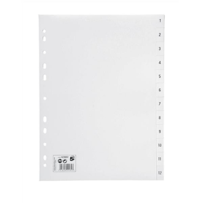 5 Star Index Multipunched 130 micron Polypropylene 1-12 A4 White