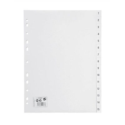 5 Star Index Multipunched 130 micron Polypropylene 1-15 A4 White