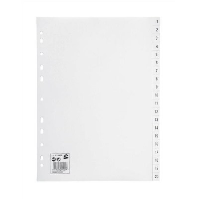 5 Star Index Multipunched 130 micron Polypropylene 1-20 A4 White