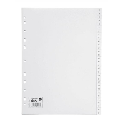 5 Star Index Multipunched 130 micron Polypropylene 1-31 A4 White