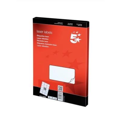 5 Star Multipurpose Labels Laser 18 per Sheet 63.5x46.6mm White [1800 Labels]