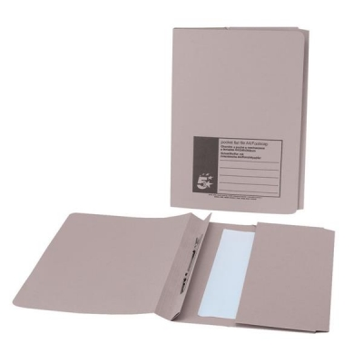 5 Star Flat File with Pocket Recycled Manilla 285gsm 38mm Foolscap Buff [Pack 25]
