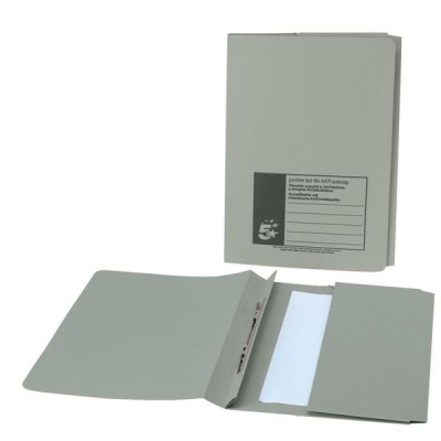 5 Star Flat File with Pocket Recycled Manilla 285gsm 38mm Foolscap Green [Pack 25]