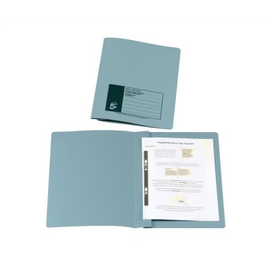 5 Star Flat File Recycled Manilla 285gsm 38mm Foolscap Blue [Pack 50]