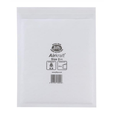 Jiffy Airkraft Postal Bags Bubble-lined Peel and Seal No.2 White 205x245mm Ref JL-AMP-2-10 [Pack 10]