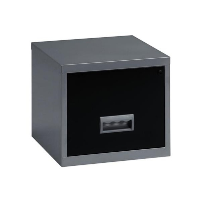 Pierre Henry Filing Cabinet Steel Lockable 1 Drawer A4 Silver and Black Ref 099071