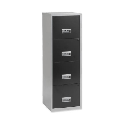 Pierre Henry Filing Cabinet Steel Lockable 4 Drawers A4 Silver and Black Ref 095809