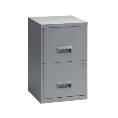 Pierre Henry Filing Cabinet Steel Lockable 2 Drawers A4 Grey Ref 095000