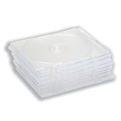 CD Case Slimline Jewel for 1 Disk Clear [Pack 10]