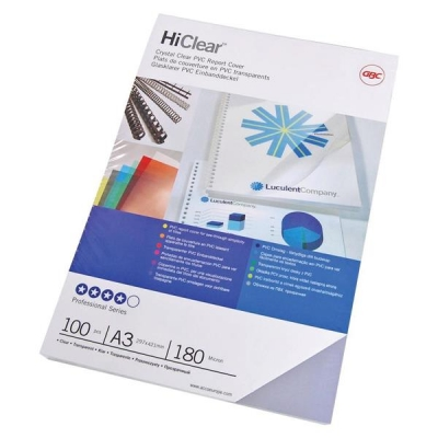 GBC HiClear Report Covers 180 micron PVC A3 Clear Ref CF121880 [Pack 50x2]