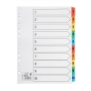 5 Star Index 150gsm Card with Coloured Mylar Tabs 1-10 A4 White